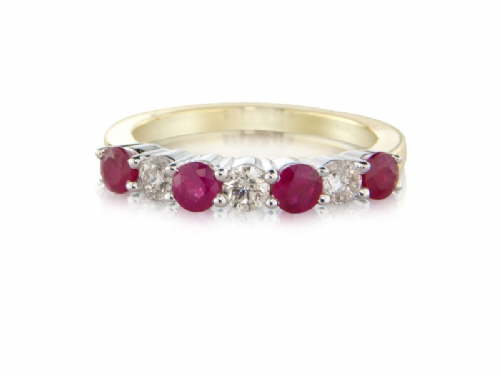 Yellow Gold Ruby And Diamond Eternity Ring Claw Set